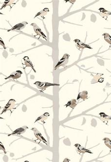 布纹小鸟树枝花纹壁纸图片
