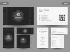 创意名片、名片或名片集的前后页视图。