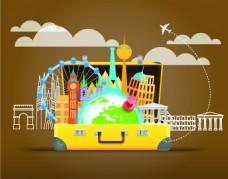 黄色旅行海报创意插画背景