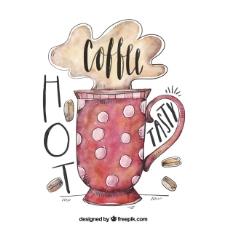 水彩圆点咖啡杯背景