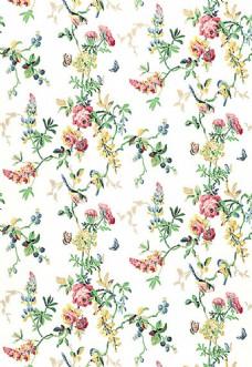 多彩树枝花纹布艺壁纸