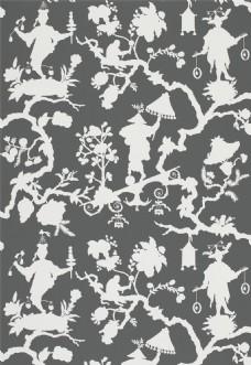 军绿色花纹布纹壁纸图片