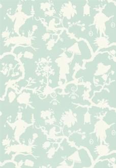 浅绿色花纹布艺壁纸图片