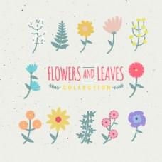手繪花和葉