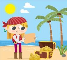 卡通寻找宝藏的女海盗