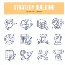 十二款建造策略类图标集矢量素材