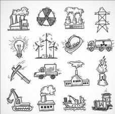 手绘油电能源工业元素